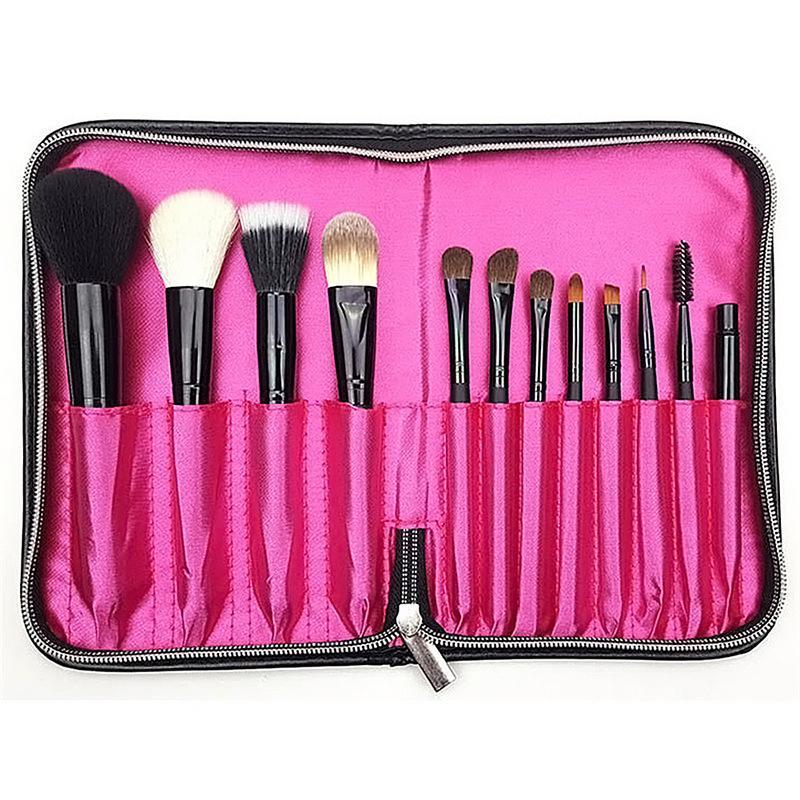 12pcs Professional Makeup Brushes Storage bag Make Up Powder Brush Zipper Strap Cosmetic Case Leather Pouch Brush Bag 20