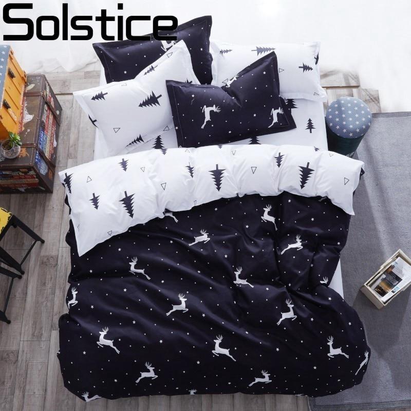 Solstice Cartoon Christmas Tree Elk Bedclothes Simple Fashion Geometric Stripes Bed Sheet Duvet Cover Sets 3/4pcs Bedding Set