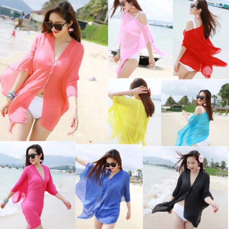Solid Beach Gauze Sexy Women Girl Beachwear Bikini Swimwear Cover Up Kaftan Beach Wear Summer Candy Color Beach Dress Sundress