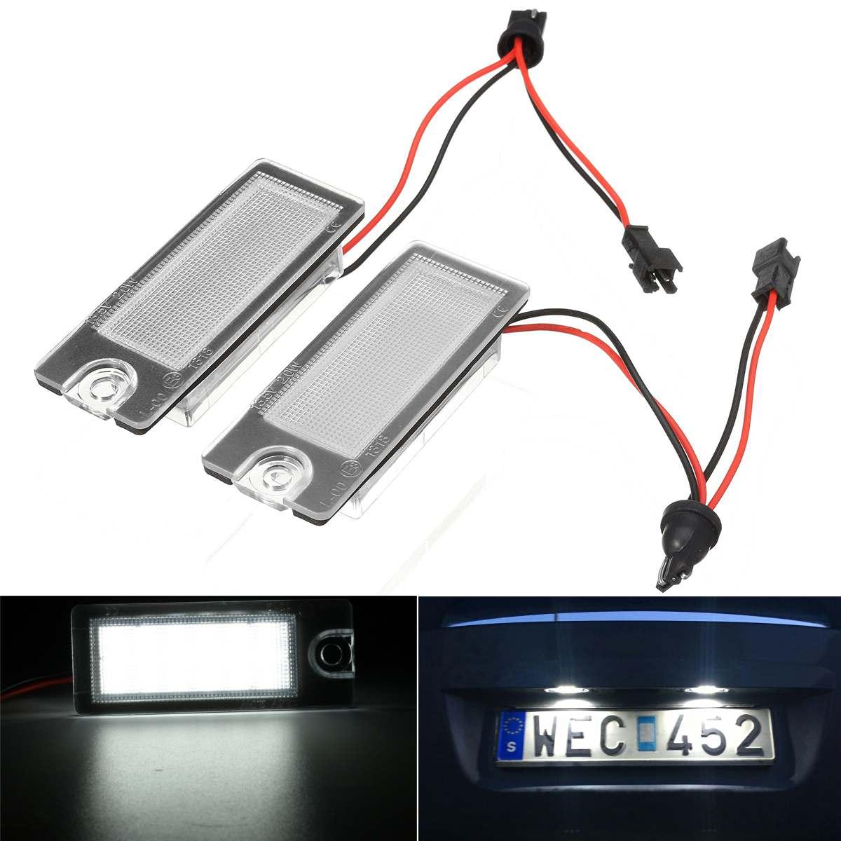 Par trasero número de licencia Placa de LED de luz blanca para Volvo V70 CX70 S60 S80 XC90 2001, 2002, 2003, 2004, 2005, 2006, 2007
