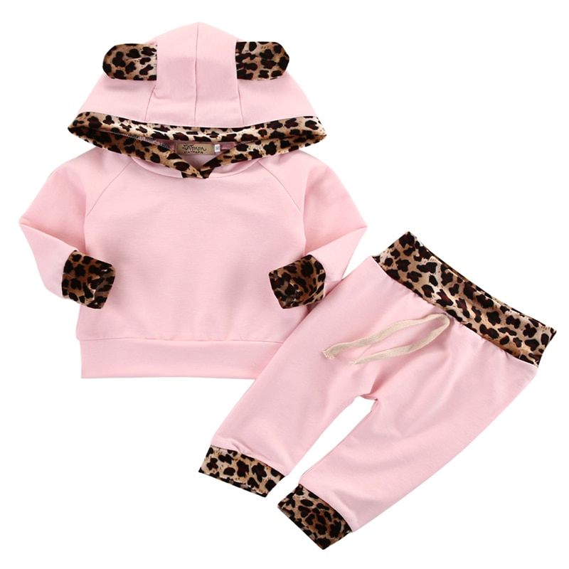 CANIS 2019 nuevo bebé niño recién nacido, ropa de bebé niña leopardo lado Rosa Abrigo con capucha sudadera pantalones mallas conjuntos conjunto