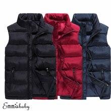 Brand New Style Winter Warm Men Down Cotton Padded Sleeveless Solid Jacket Vest Waistcoat Parka XL-5XL