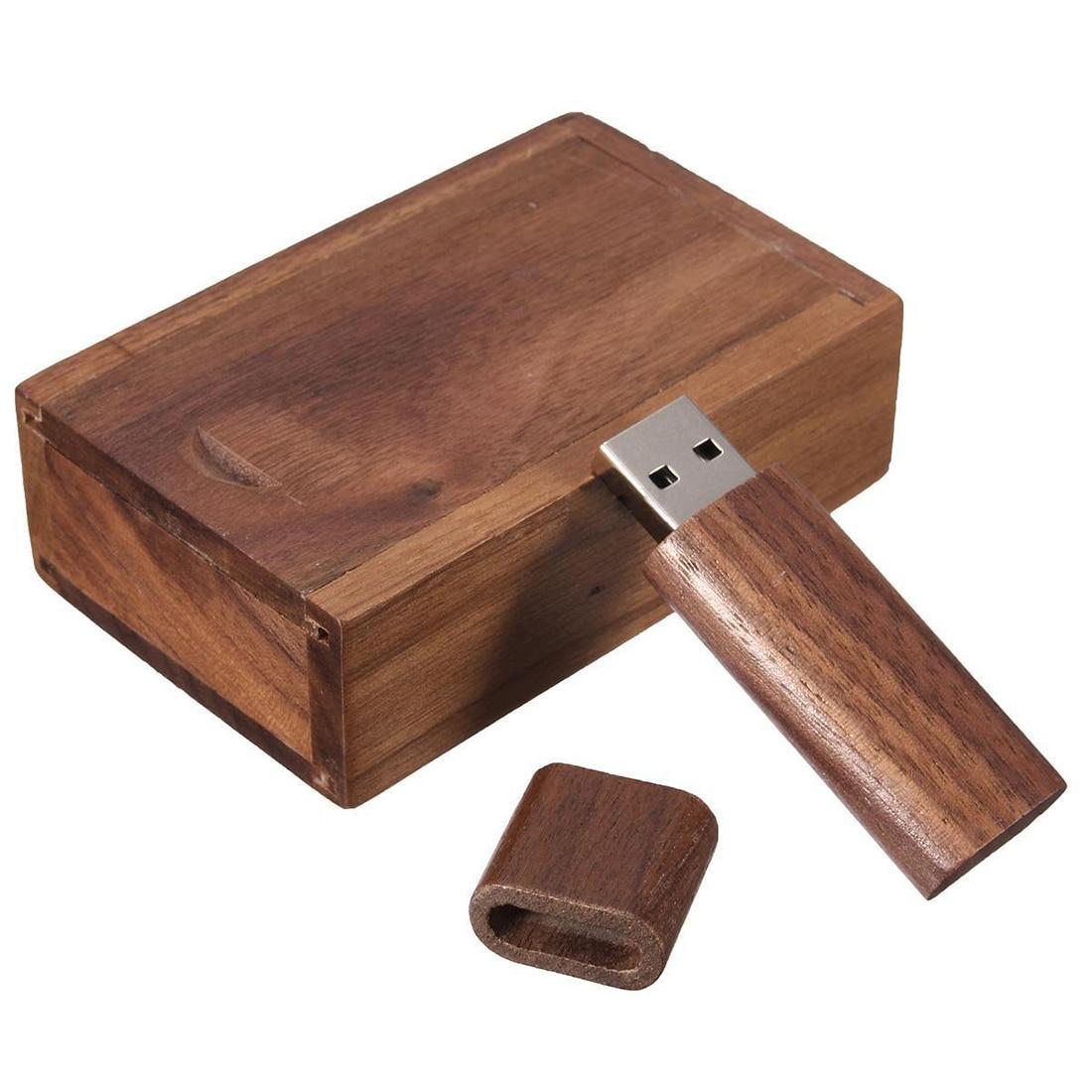 4-32G GB USB 2,0 Flash Pen Drive almacenamiento memoria de madera disco U con almacenamiento de caja de madera