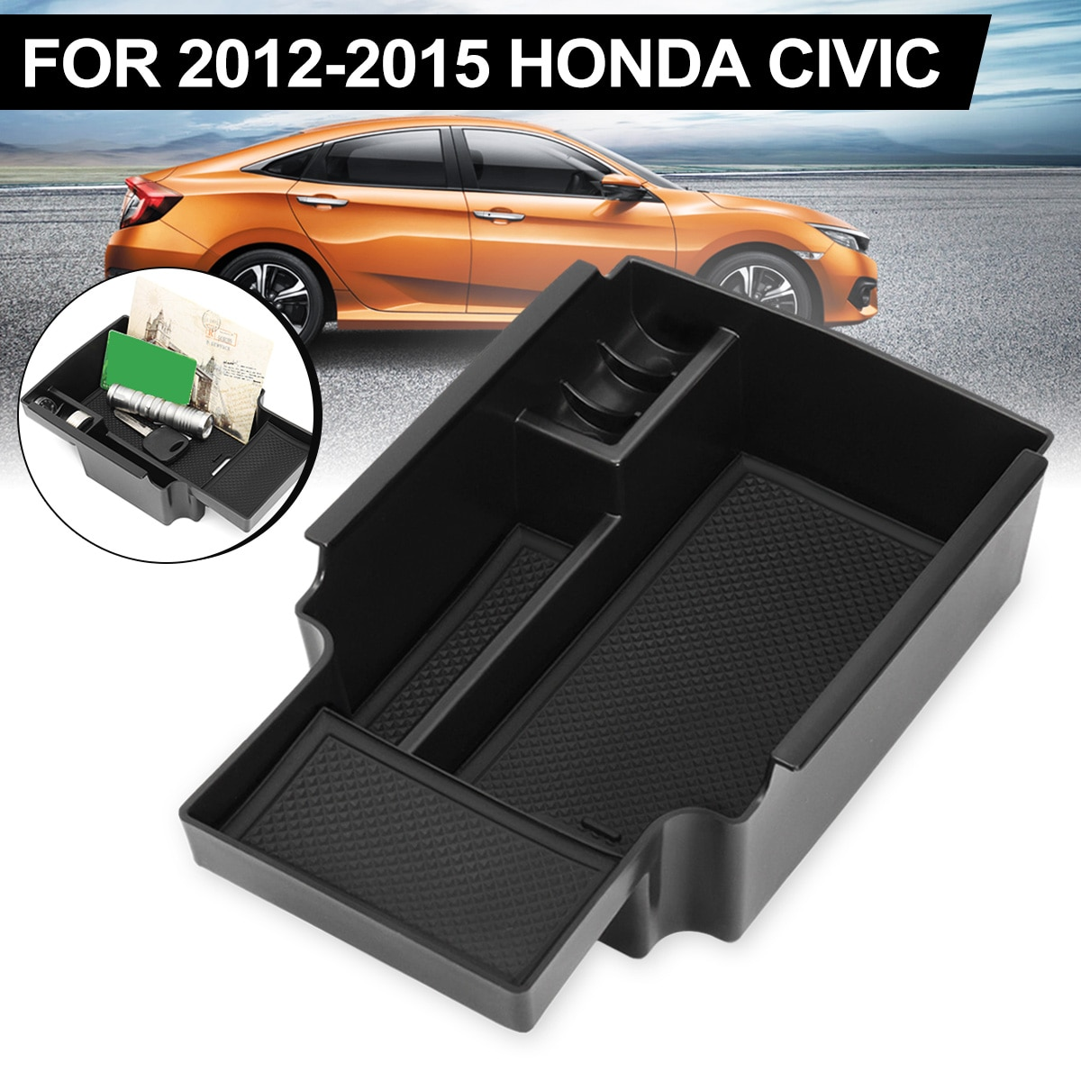 Black Car Center Console Armrest Storage Box Organizer Tray for Honda-Civic 2012 2013 2014 2015 220mmx130mm Car Storage Box