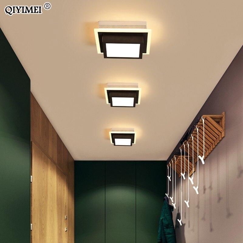 Luces De techo LED modernas acrílicas para pasillo, entrada De casa, lámpara Plafonnier, Luminaria, lámparas De techo pintadas en blanco y negro