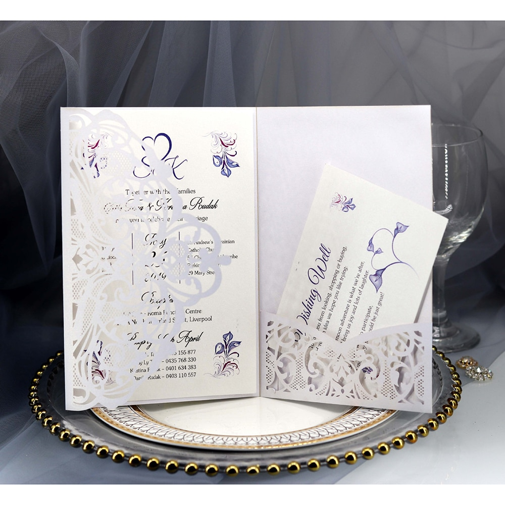 Decoración cortada tarjetas de invitación para fiesta de boda suministros belleza azul profundo/blanco tarjeta de felicitación láser 10 Uds tri-fold europeo