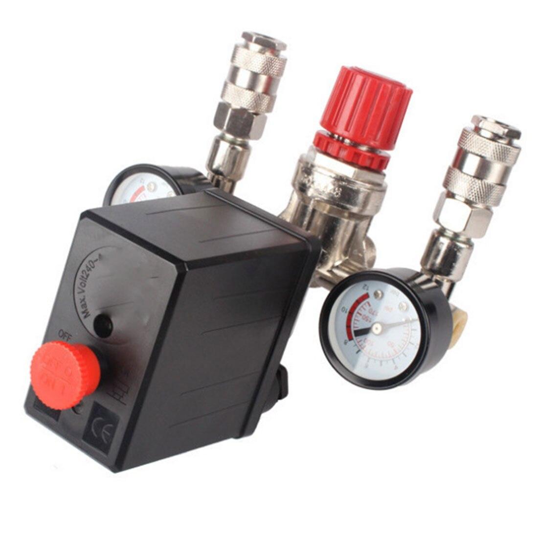 Neue Regler Heavy Duty Air Kompressor Pumpe Druck Control Switch 4 Port Air Pumpe Regelventil 7,25-125 PSI mit Manometer