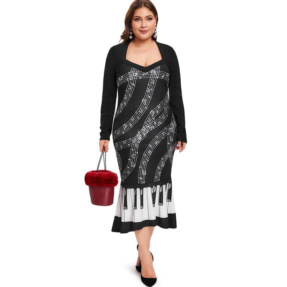 Las mujeres de talla grande música nota impresión vestido de fiesta noche cuello en corazón, largo manga vestido Casual Midi vestido Vestidos