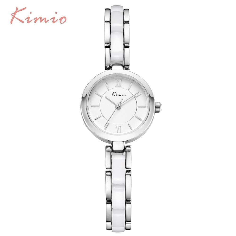 KIMIO אופנה פשוט חיוג צבע שרף חיקוי קרמיקה שעון צמיד נשים שעונים שחור שעוני יד נשים שעונים למעלה מותג