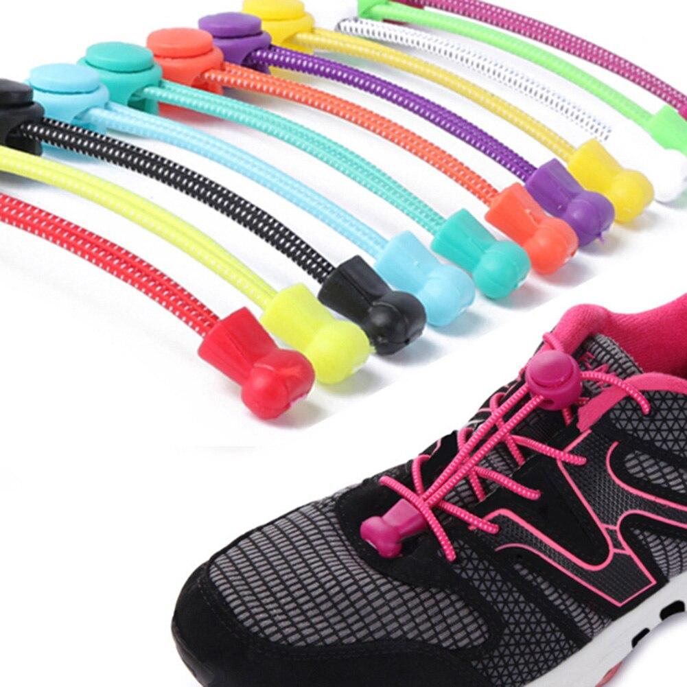 1 pces 100cm nenhum laço sapato laços bloqueio elástico laço sistema de bloqueio esportes cadarços corredores treinador