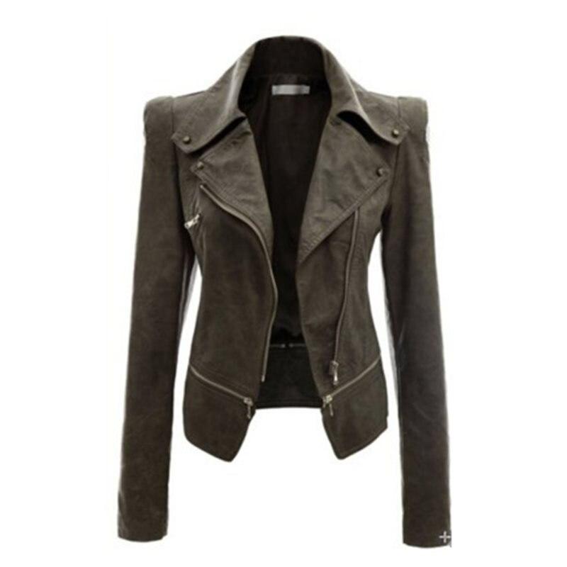 Women PU Jackets Gothic Casual Spring Punk Green Plus Size Slim Lapel Zipper Solid High Street Female Fashion Large Sizes Coats