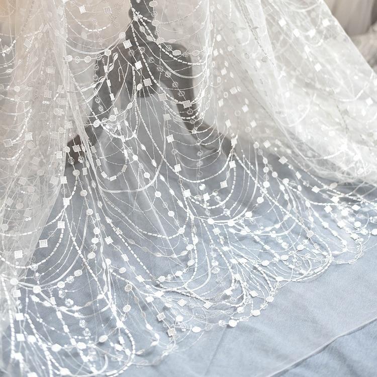 1 metro muy grande pluma de lujo rebordear tela de encaje tela boda cinta para vestido de costura DIY borde de encaje