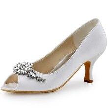 Bleu marine femmes soirée pompes Peep orteil cristal Satin mariée demoiselle dhonneur dame mi-talon mariée chaussures de mariage blanc ivoryHP1541