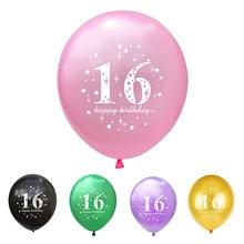 10 stücke 16th Geburtstag Gedruckt Latex Ballons Party Decor Ballon Dekoration Anniversaire Glücklich Geburtstag Dekorationen Ballons Balony