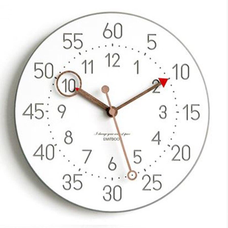 Azul relógio de parede quartzo criativo silencioso moderno crianças de madeira relógio 3d design nórdico relogios decoração da quinta c5t022