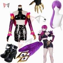 LOL Evelynn Cosplay jeu de costumes KDA groupe femmes vêtements Halloween sexe en cuir jupe fourrure tippet perruque oreilles chaussures sur mesure taille