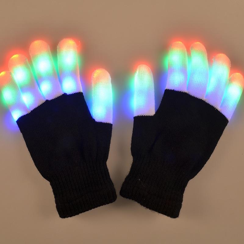 Светодиодная мигающая перчатка, светящаяся в 7 режимах, 1 шт.