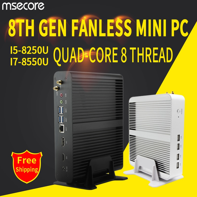MSECORE i5 8250U I7 8565U DDR4 الألعاب كمبيوتر مصغر ويندوز 10 HTPC كمبيوتر مكتبي لعبة الكمبيوتر لينكس إنتل نيتتوب باربون DP HDMI واي فاي
