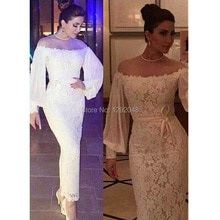 YNQNFS MD75 Mother of Bride Gown Sheer Neck Off Shoulder Long Sleeve Lace White Party Dress Formal D