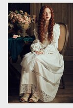 Vintage Sexy Sleepwear Women Cotton Medieval Nightgown White V-neck Queen Dress Night Dress Lolita Princess Arab Home Dress