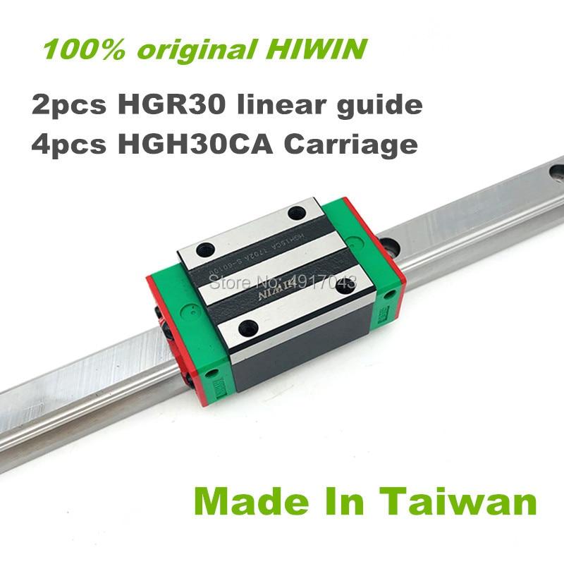 2 قطعة 100% الأصلي أداة توجيه طولية من هايون السكك الحديدية HGR30 200 300 400 500 600 مللي متر مع 4 قطعة HGH30CA خطية تحمل كتل ل CNC أجزاء