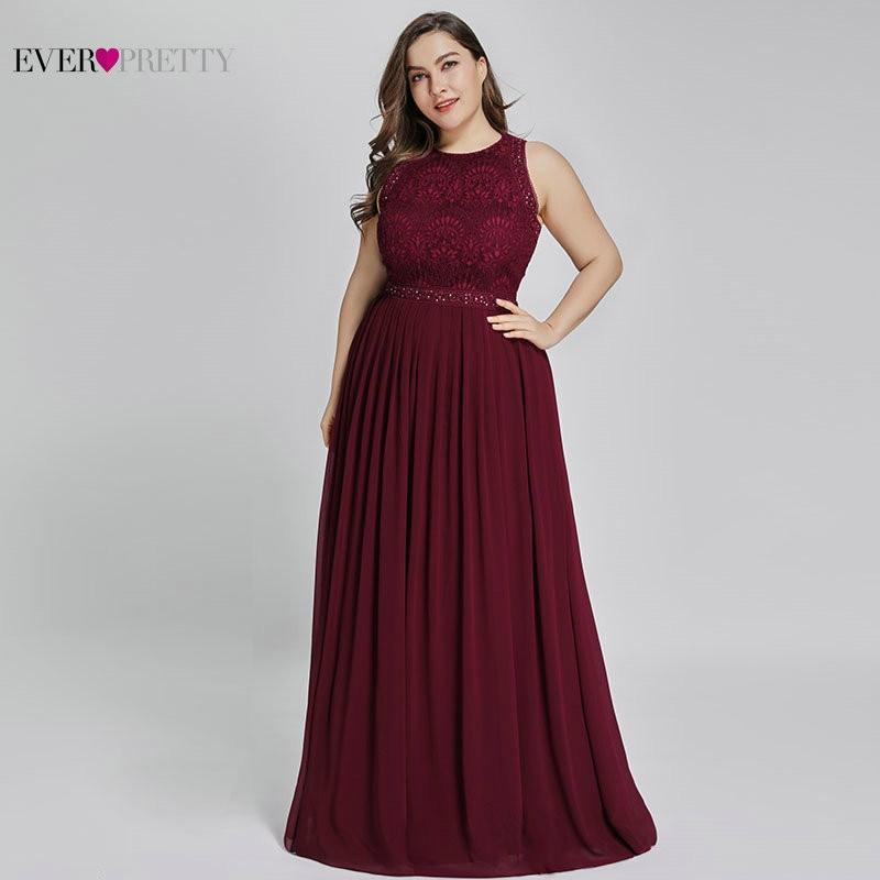 Vestidos de mother of the groom de talla grande siempre bonitos elegantes Línea A cuello redondo con cuentas de encaje largo Formal vestidos de fiesta para boda 2020