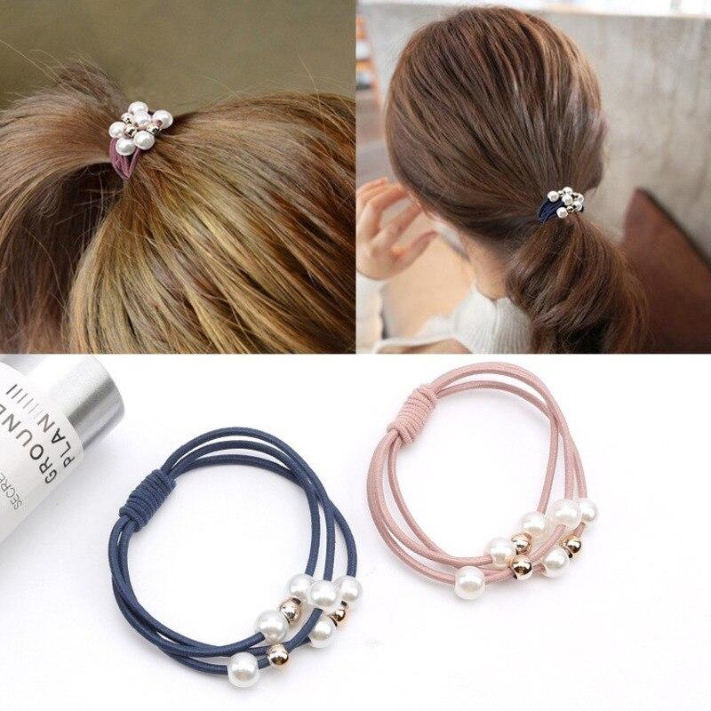 Cintas elásticas de goma de Corea para el pelo, soporte para cola de caballo, cuentas de perlas simuladas, soporte para el pelo, diadema para mujer, accesorios para el cabello para mujer