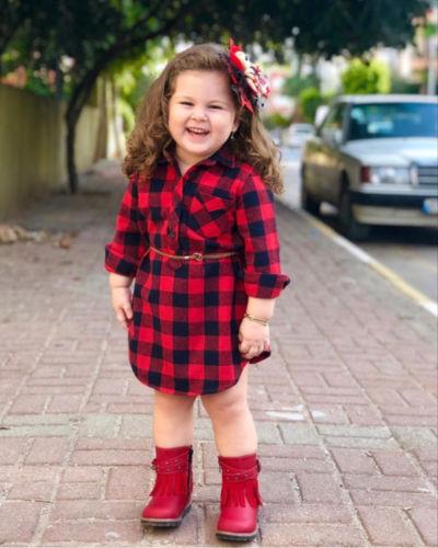Vestido de manga larga de fiesta de Princesa a cuadros para niñas recién nacidas de EE. UU.