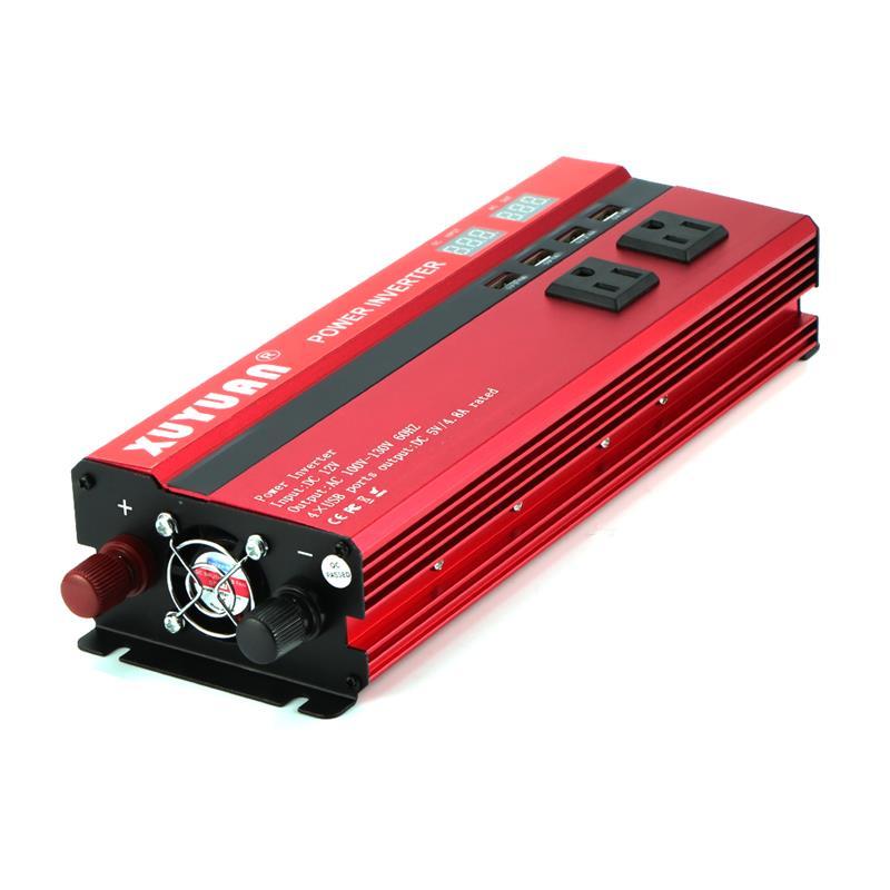 Inversor de energía Solar para coche de 4000 W/5000 W LED DC12/24 V a AC110/220 V convertidor de onda sinusoidal 4 Interfaces USB