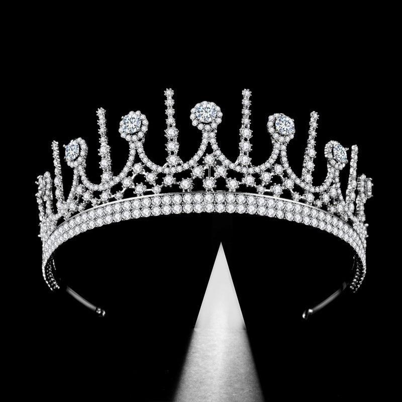 Adornos para el pelo para novia a la moda corona nupcial europea de circón superventa decoración para el cabello accesorios de vestido completo tiaras de boda