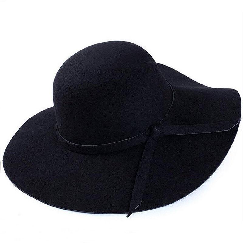2019 Nova Vintage Estilo Country Girl Fashion Mulheres Aba Larga Chapéu de Feltro Bowler Cap Lady Floppy Cloche Bowknot Sólida Elegante chapéu de sol
