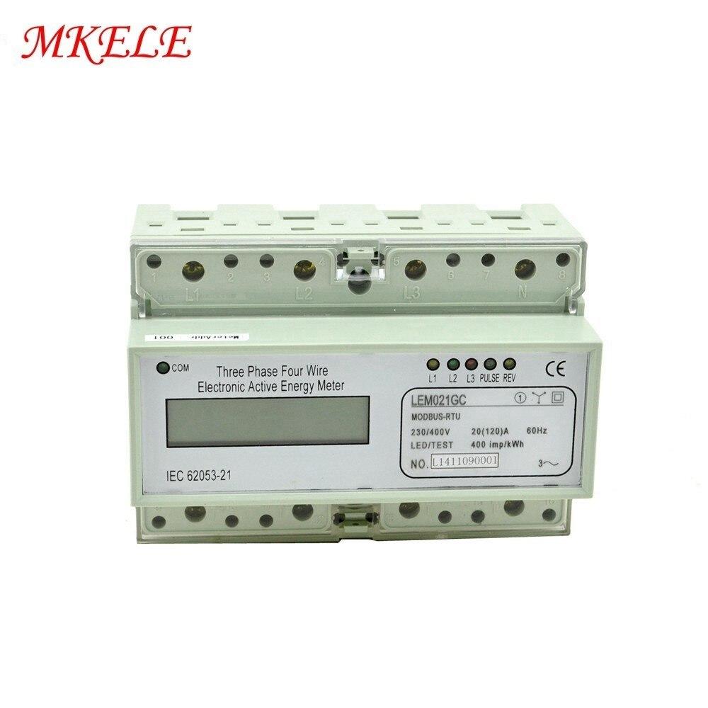 Medidor de energía Din Rail envío gratis Modbus RTU Din Rail MK-LEM021GC LCD Digital portátil medidor de energía trifásico Venta caliente