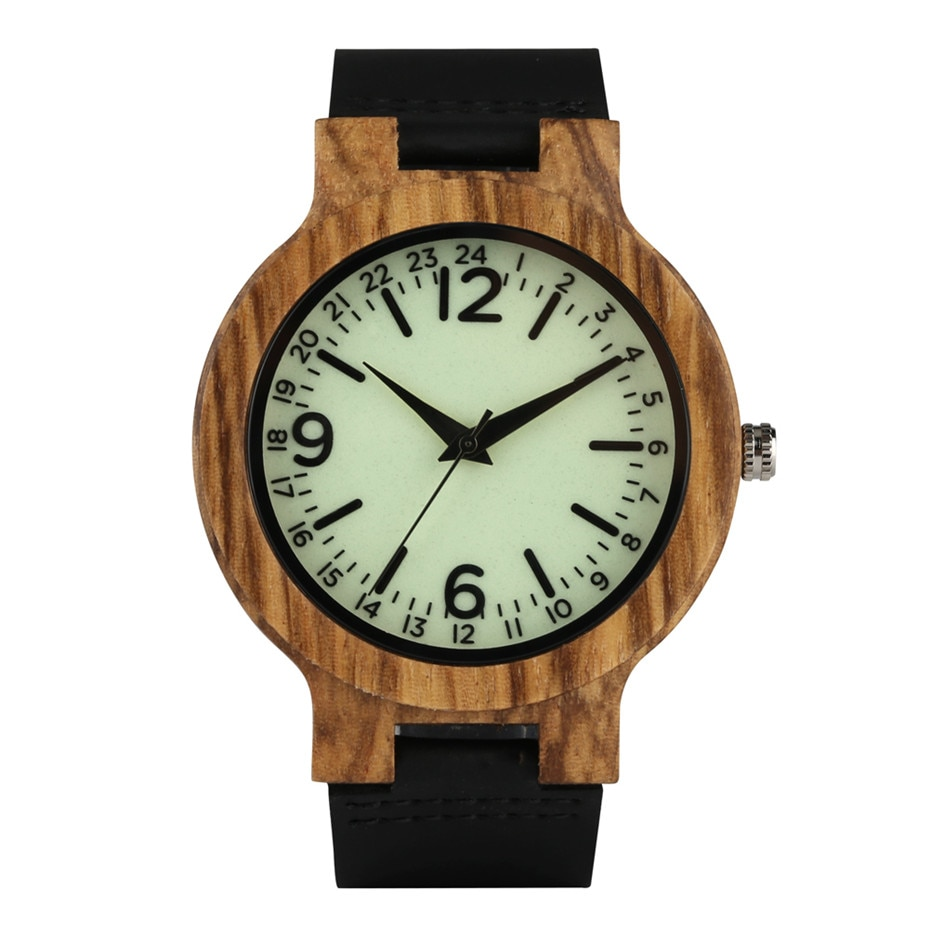 Quartz Wood Watches Man Light Green Dial Timepieces Casual Leather Band Wood Watch Men Light Weight Male Clock Gifts black ink world map dial watch natural bamboo wood watch fashion casual leather men quartz analog round wristwatches clock male