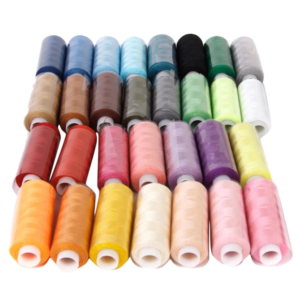 250yds/carrete, hilos de poliéster para coser, bolsa de Jeans, artesanías de cuero DIY, paquete de 30 colores surtidos