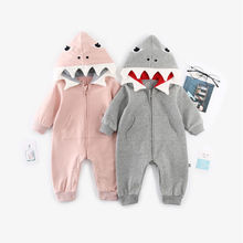 Pudcoco Newborn Toddler Baby Boys Girls Shark Romper Long Sleeve Zipper Babygrows Jumpsuit Playsuit Costume Winter Clothes