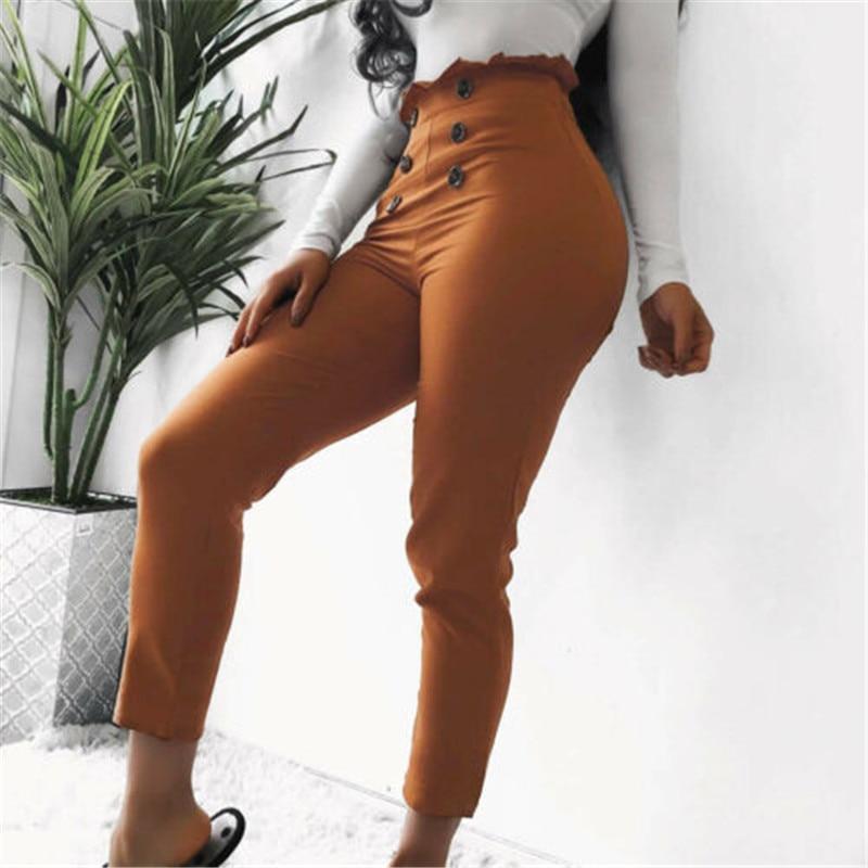 Pantalones ceñidos a la moda para mujer, pantalones ceñidos de cintura alta, diseño de botones, pantalones ceñidos, pantalones elásticos de tubo, pantalones largos, gran oferta