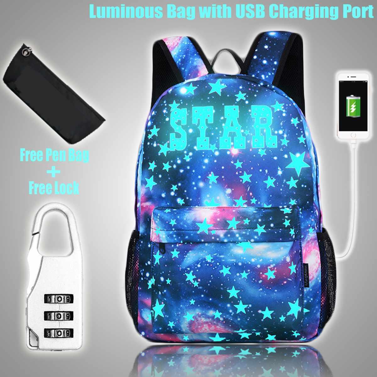 Mochila escolar luminosa para estudiante, mochila escolar para niño y niña con puerto de carga USB, bolsa de bolígrafo con bloqueo antirrobo para Camping y viajes