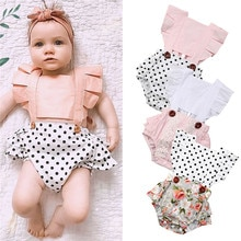 2019 3M-24M Newborn Baby Girls Clothes Splice Romper Jumpsuit Outfits Lace Floral Polka Dots Ruffles