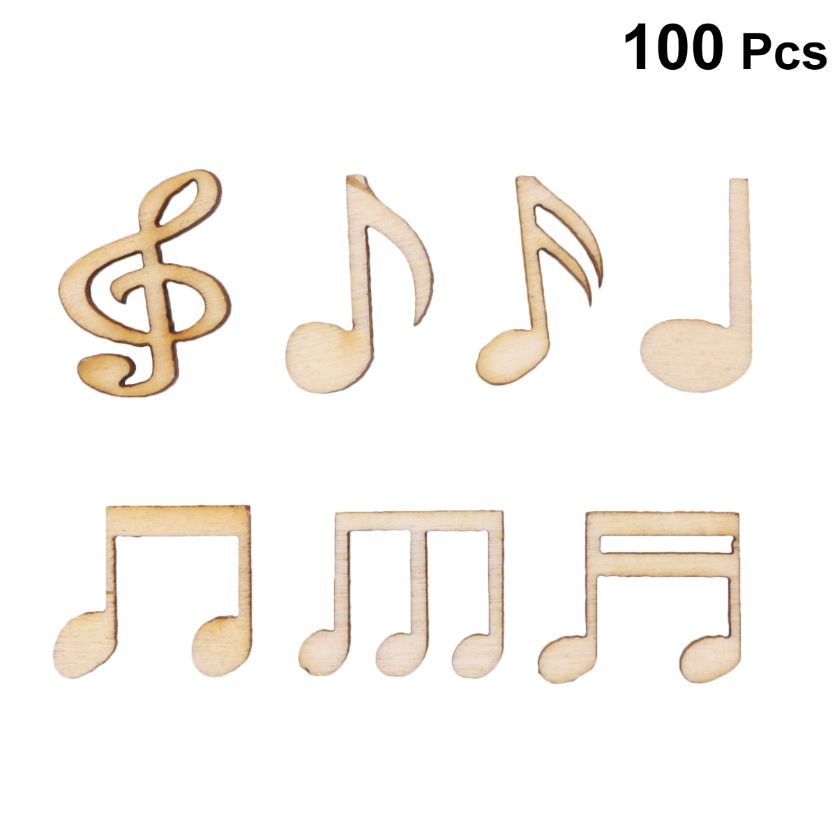 100PCS DIY Doodle Educational Toy Musical Notes Natural Wooden Slice Scrapbooking Embellishments DIY Craft Decor (Burlywood)