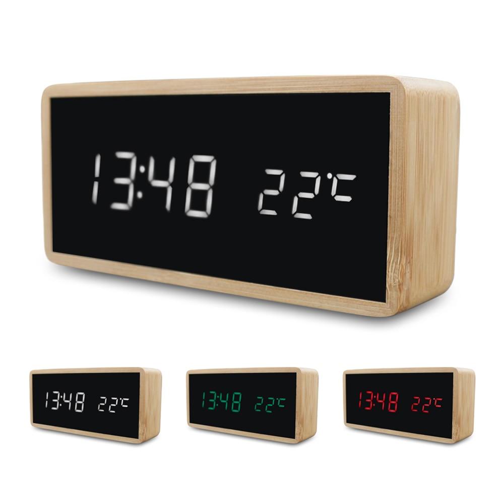 Wooden Alarm Night Light Clock LED Display Mirror Temperature Digital Watch Electronic Watch Table Sound Control Digital Desktop