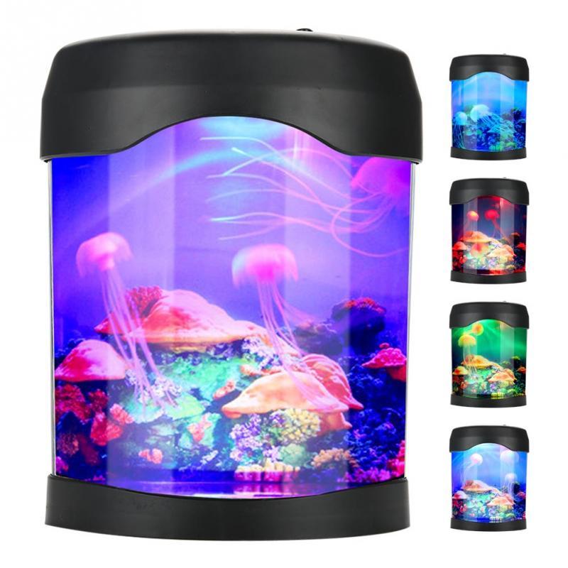 Usb luz do aquário mesa mini tanque de peixes luz da noite humor led iluminação mudança de cor lâmpada da noite lâmpada de humor aquário venda quente