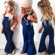 Pudcoco-vêtements en Denim pour filles   Combinaison-pantalon à bretelles, pour enfants en bas âge, tenue de jeu