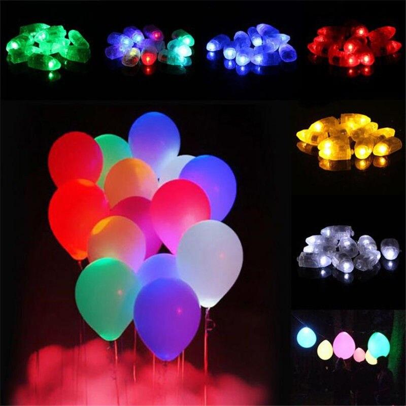 50 luces LED para Globo 6 colores papel creativo fiesta festiva linterna luz globos brillan en la oscuridad
