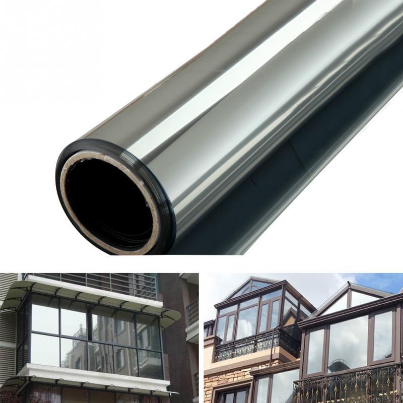 Janela de vidro filme uma maneira espelho prata isolamento adesivos 1m * 40/50cm 2m * 40/50cm solar reflexivo casa decoração quarto