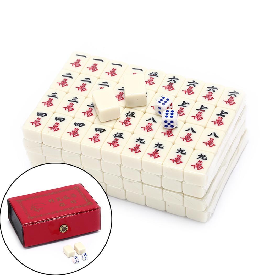 Nuevo Mini Mahjong chino divertido juego de mesa familiar portátil conjunto de Mahjong antigüedad china Mini Mahjong juegos de casa