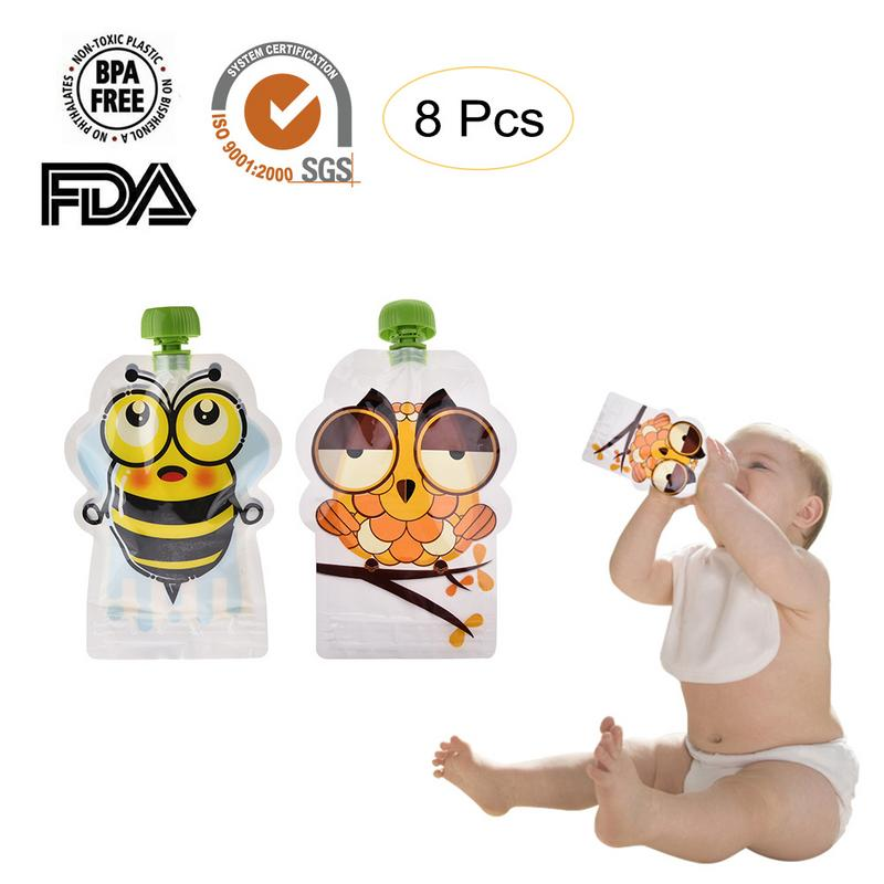 BPA-Free многоразовая герметичная дополнительная сумка для хранения пищевых продуктов домашний пюре целлюлоза 148 мл двойная молния набор из 8/8 ...