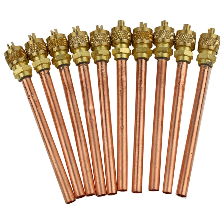 """Válvula 10 De 1/4 """"SAE x 1/4"""" OD x 4 """", núcleo de vástago, refrigeración CA"""