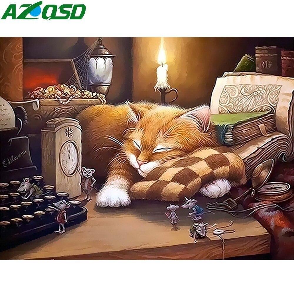 AZQSD pintura al óleo por números gato durmiendo lienzo pintado a mano cuadro de pared moderno DIY para sala de estar decoración del hogar SZYH6316
