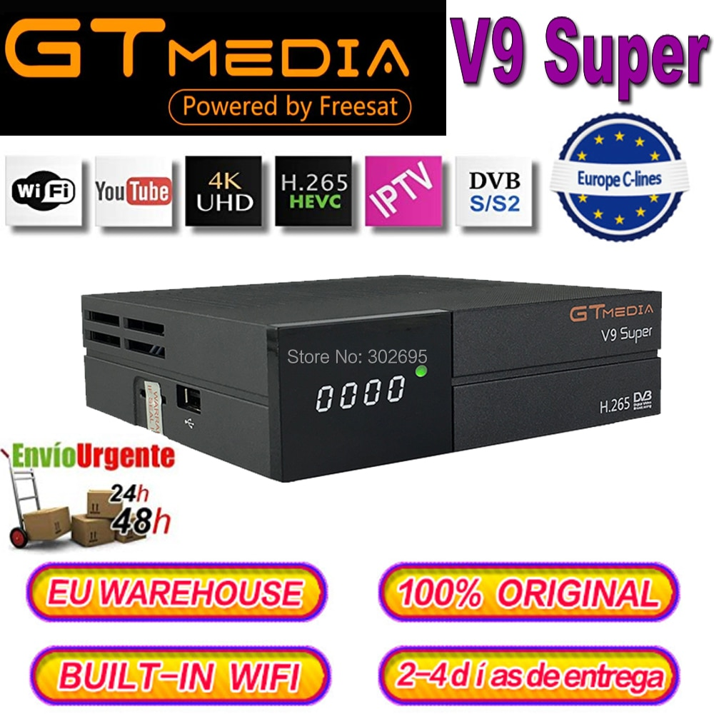 Gtmedia-receptor DVB-S2 v9 Super, cline Europa, España por 3 años, con wi-fi integrado, medios GT V9 Super