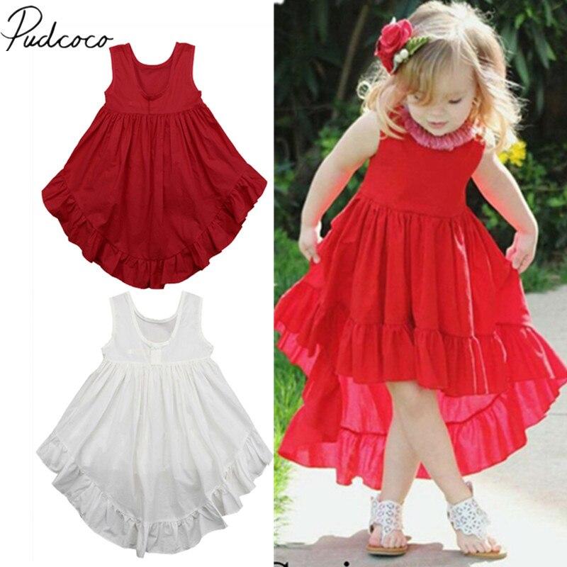 2019 Brand New 0-5Y Princess Infant Kids Baby Girls Dress Clothes Ruffles Solid Sleeveless Dress Irregular Summer Boho Sundress